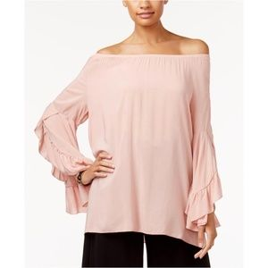 FEVER Blouse Pink Off-The-Shoulder Ruffle Sleeve M